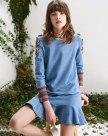 Blue Round Neck Long Sleeve 3/4 Length Peplum Women's Dress