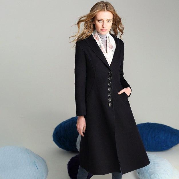 Plain Lapel Long Sleeve Fitted Women's Coat