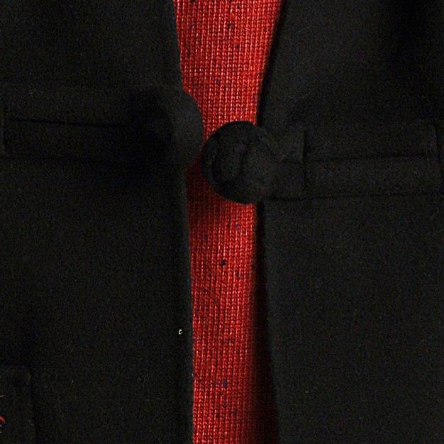 Black Plain Stand Collar 3/4 Sleeve Standard Women's Coat