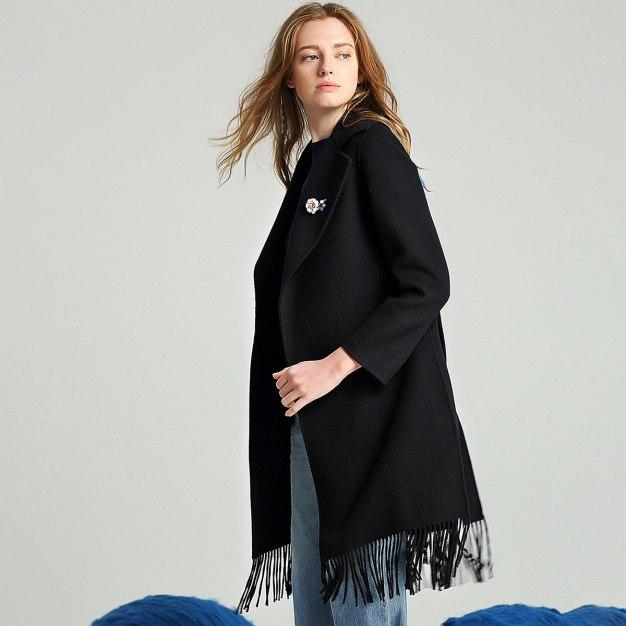 Black Plain Suit Collar Long Sleeve Fitted Women's Coat