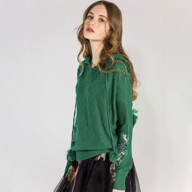 Green Long Sleeve Loose Women's Sweater
