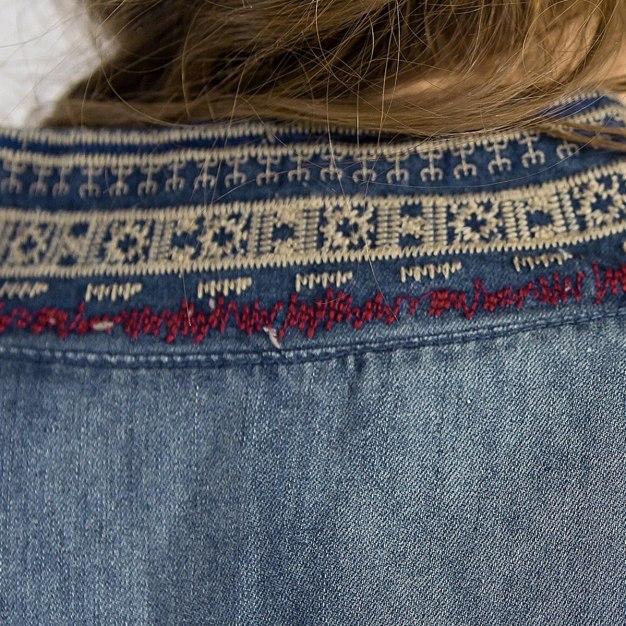 Blue Embroidery Elastic Long Sleeve Standard Women's Outerwear
