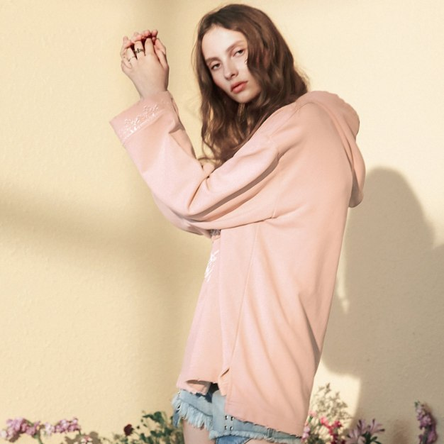 Pink Plain Long Sleeve Loose Women's Sweatshirt
