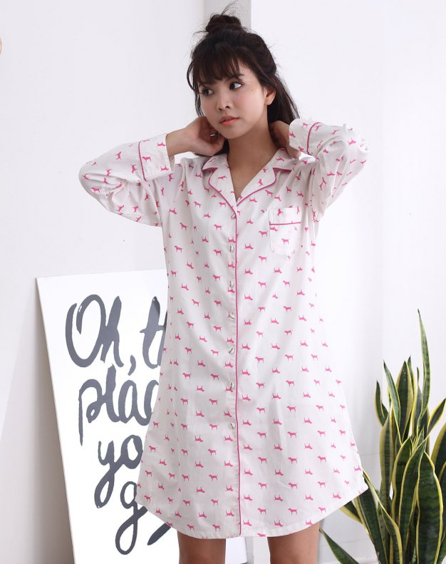 White Cotton Long Sleeve Thin Women's Sleepwear