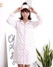 Pink Cotton Long Sleeve Thin Women's Sleepwear
