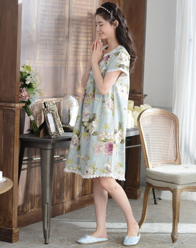 Blue Cotton Short Sleeve Thin Women's Sleepwear