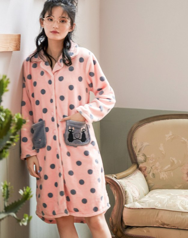 Thickened And Cashmere Women's Night-Robe