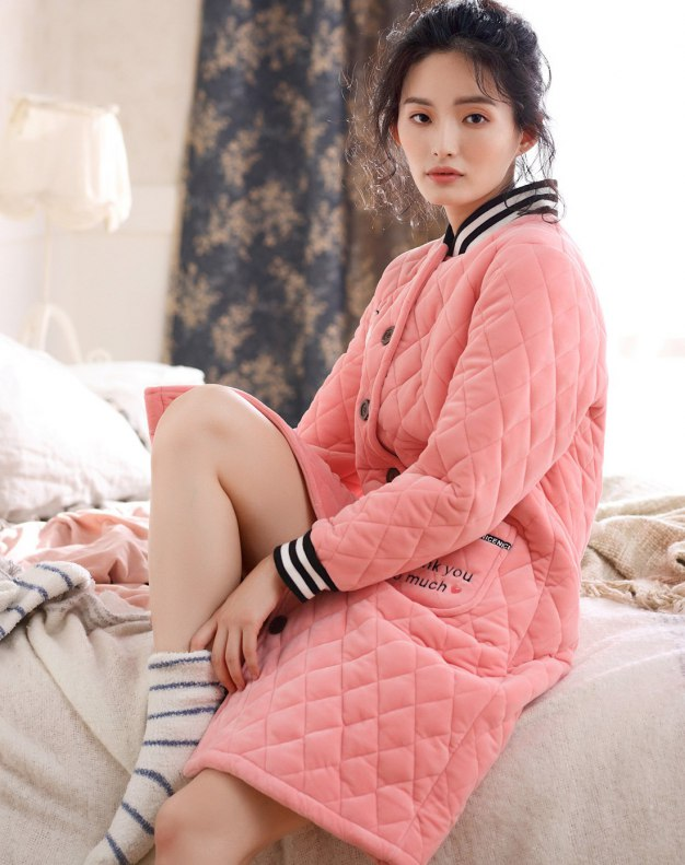 Polyester Ex Thick With Cotton Inside Women's Night-Robe
