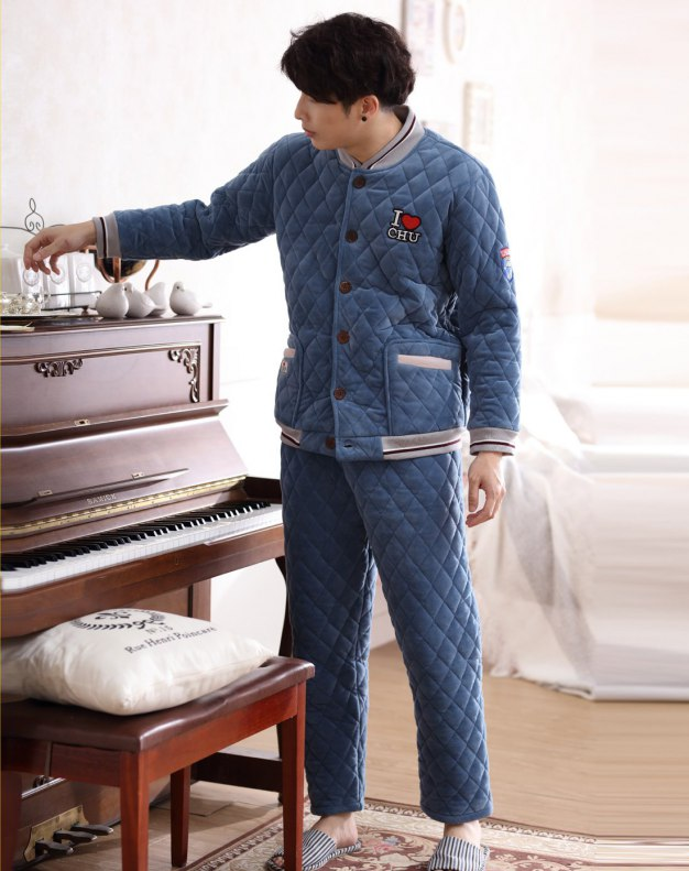 Blue Polyester Ex Thick With Cotton Inside Men's Loungewear