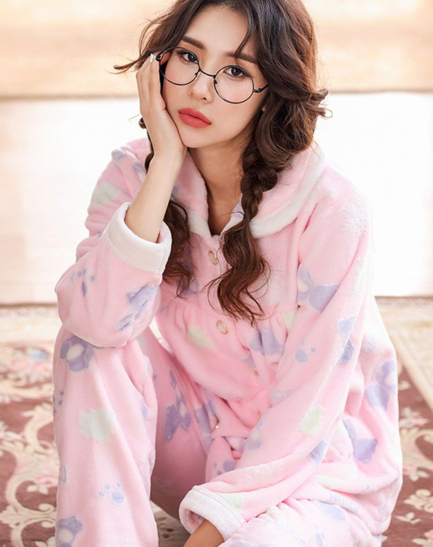 Pink Polyester Sleeve Thickened And Cashmere Women's Loungewear