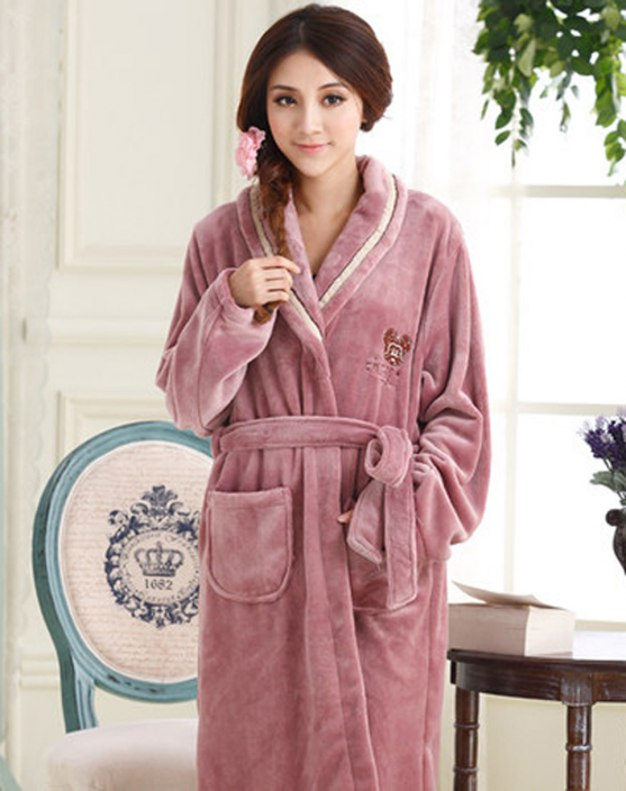 Polyester Thickened And Cashmere Women's Night-Robe