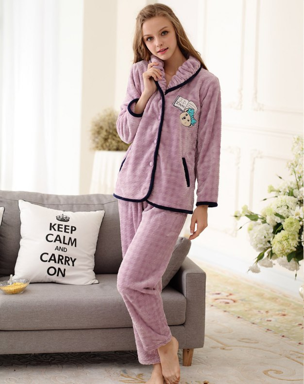 Purple Polyester Sleeve Cashmere Women's Loungewear