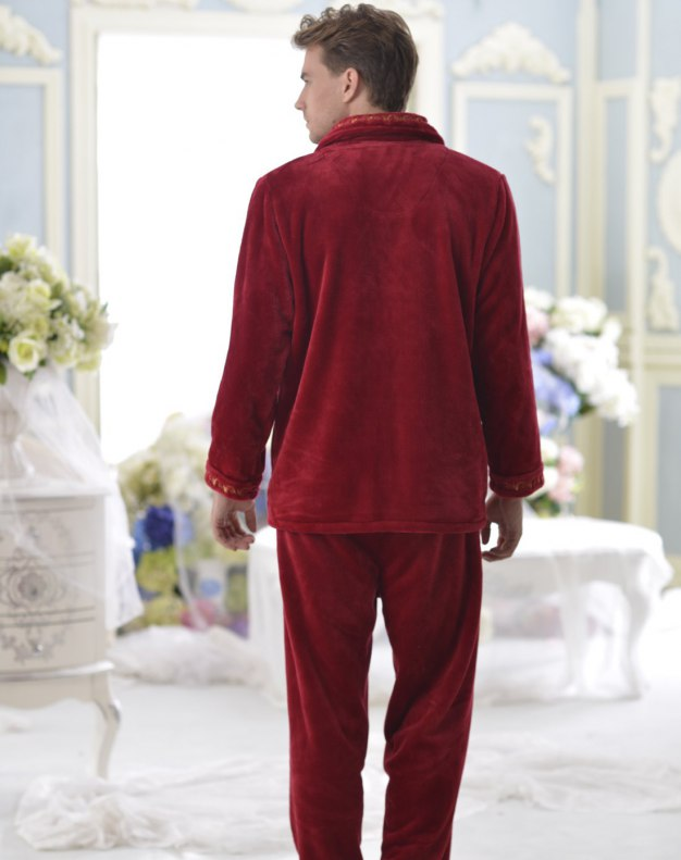 Red Polyester Sleeve Thickened And Cashmere Men's Loungewear
