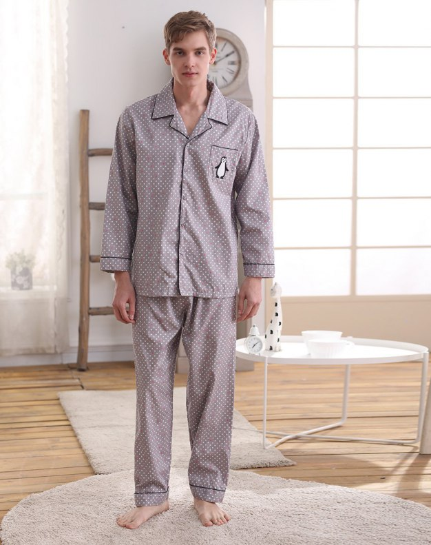 Gray Cotton Sleeve Standard Men's Loungewear