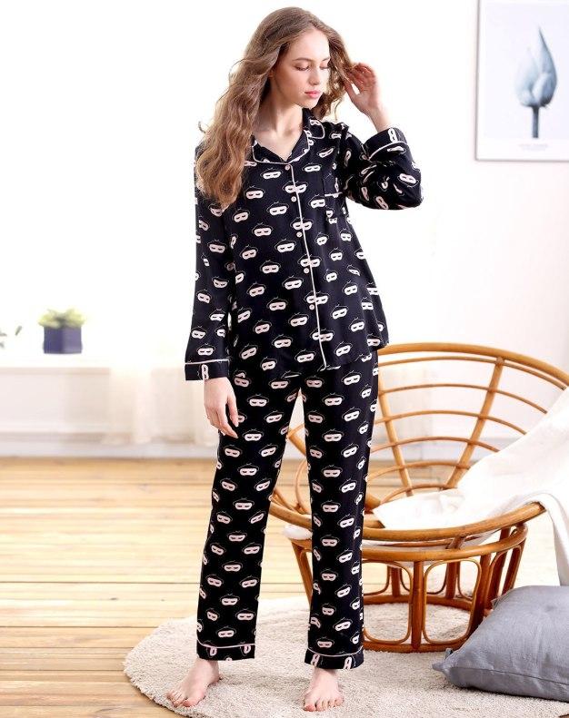 Black Cotton Sleeve Standard Women's Loungewear