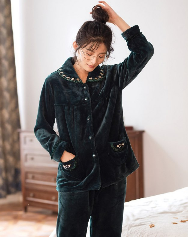 Sleeve Thickened And Cashmere Women's Sleepwear