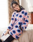 Blue Polyester Sleeve Thickened And Cashmere Women's Loungewear