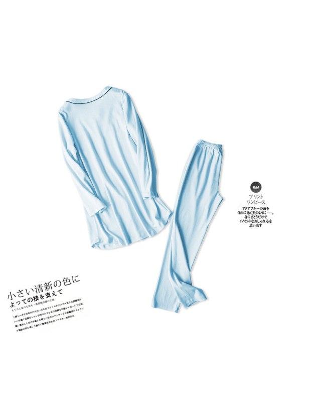 Blue Cotton Sleeve Thin Women's Loungewear