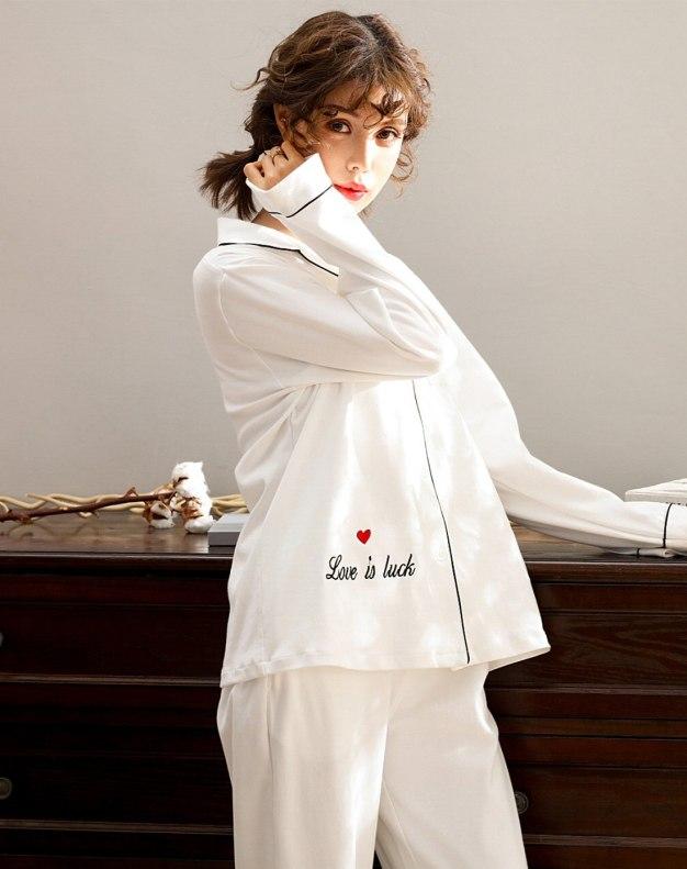 White Cotton Sleeve Standard Women's Loungewear