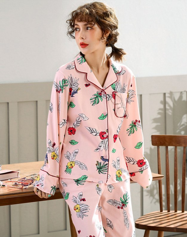 Pink Cotton Sleeve Standard Women's Loungewear