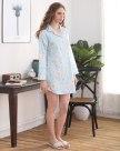 Blue Cotton Long Sleeve Standard Women's Sleepwear