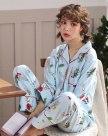 Blue Cotton Sleeve Standard Women's Loungewear