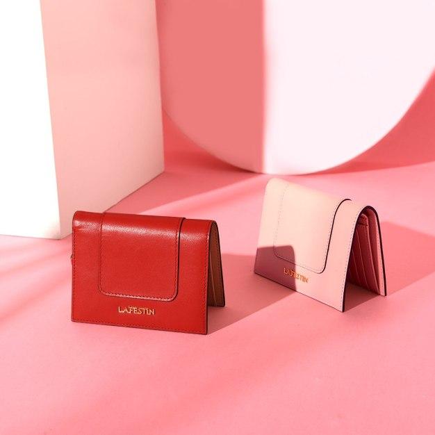 Red Plain Cowhide Leather Purse(Short) Medium Women's Wallet