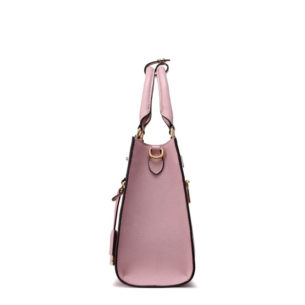 Pink Plain Cowhide Leather Big Women's Tote