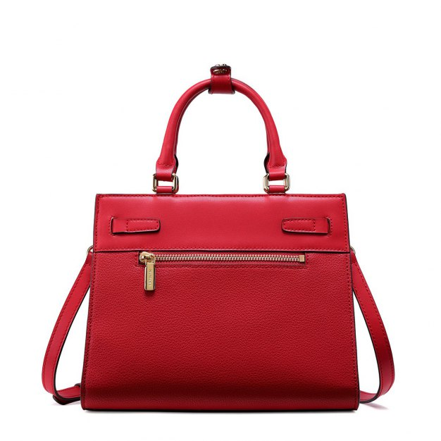 Red Plain Cowhide Leather Big Women's Tote
