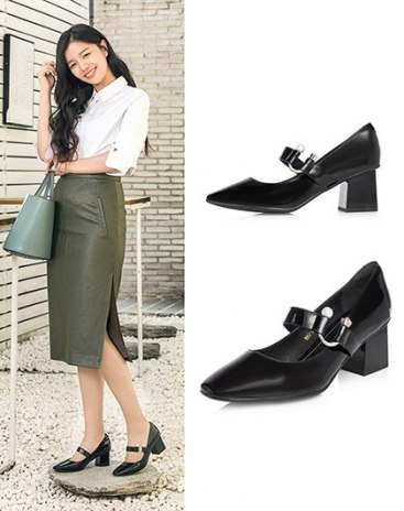 Black Square Toe of High Heel Women's Shoes