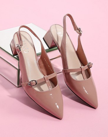 Pink Pointed Middle Heel Women's Sandals