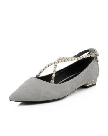Gray Cut Pointed Low Heel Women's Shoes