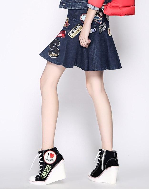 블루 짧은 치마 여성 주름치마  스커트