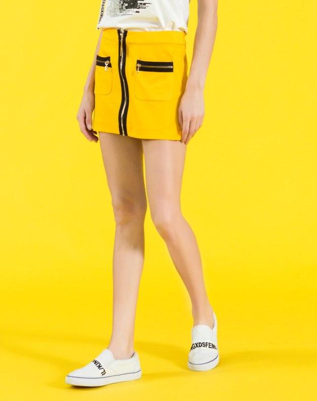 옐로우 짧은 치마 여성 랩스커트 스커트