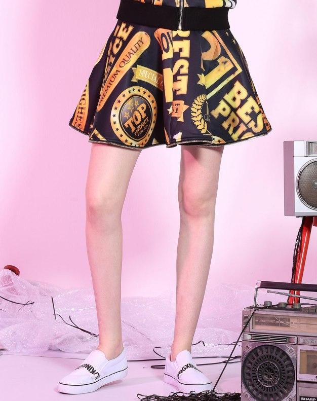 멀티컬러 짧은 치마 여성 A라인 드레스 스커트