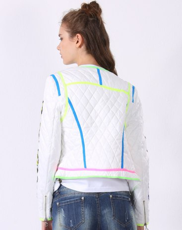 White Collarless Long Sleeve Fitted Women's Sweater