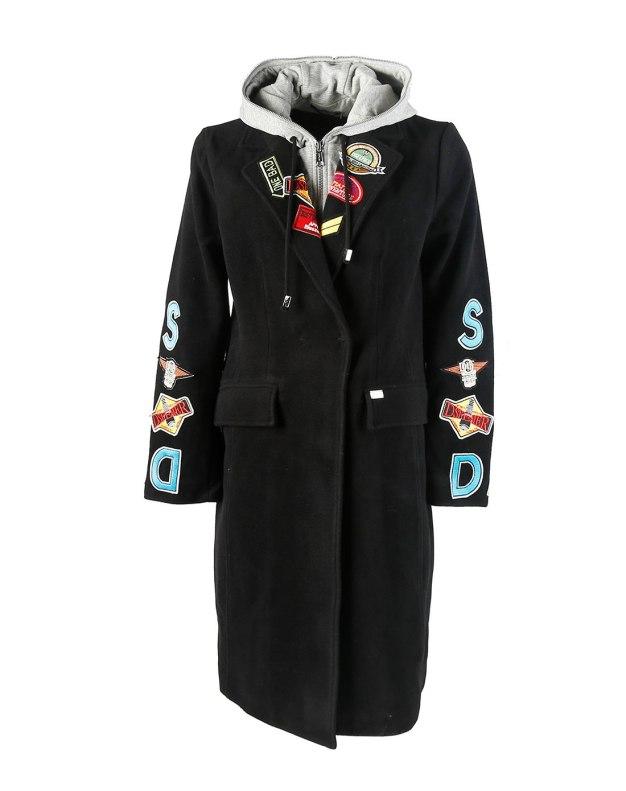 블랙 알파벳 싱글 버튼 표준 여성 코트