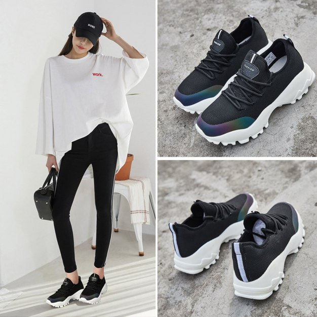 Black Round Head Flat Portable Women's Outdoor Shoes