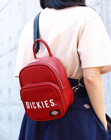 Red PU Small Plain Women's Backpack