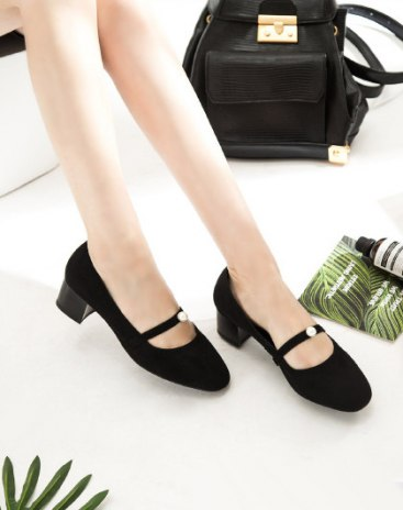 Black Round Head High Heel Portable Women's Ankle Boots