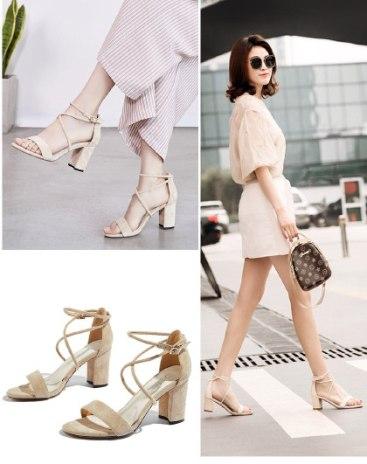 Beige High Heel Heighten Women's Sandals