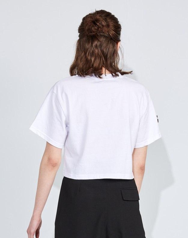화이트 추상적인 패턴 반팔 슬림핏 여성 티셔츠