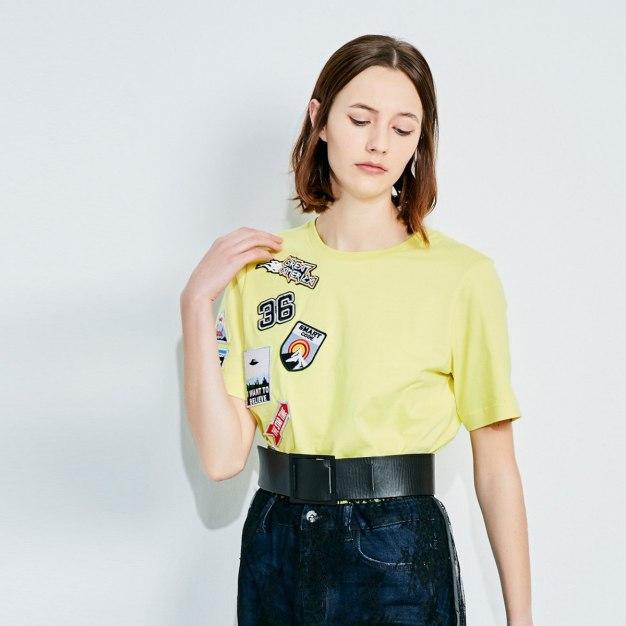 옐로우 추상적인 패턴 반팔 표준 여성 티셔츠