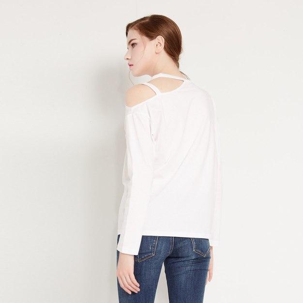 화이트 단색의 긴소매 표준 여성 티셔츠