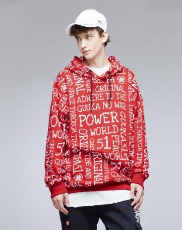 Red Hoodie Long Sleeve Standard Men's Hoodies & Sweatshirt