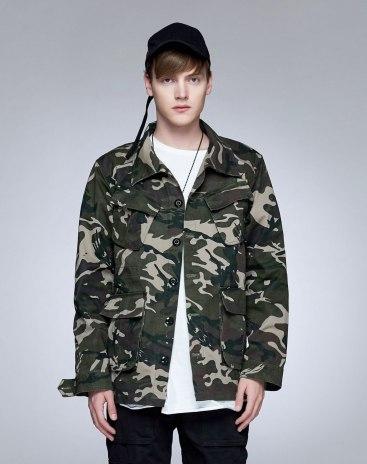 Green Lapel Long Sleeve Loose Men's Jacket