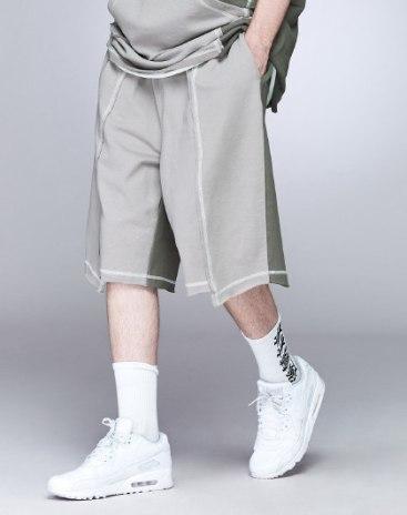 Gray Paneled Light Elastic Loose CroppedPants Men's Pants