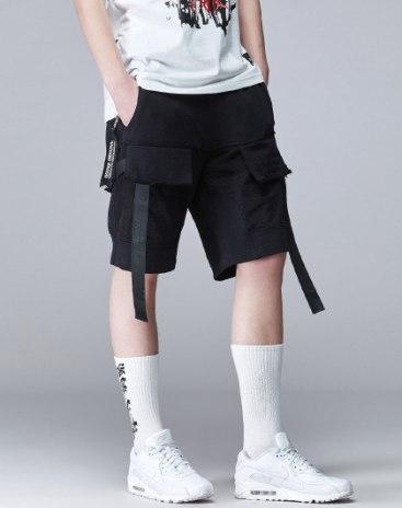 Black Pockets Light Elastic Loose CroppedPants Men's Pants
