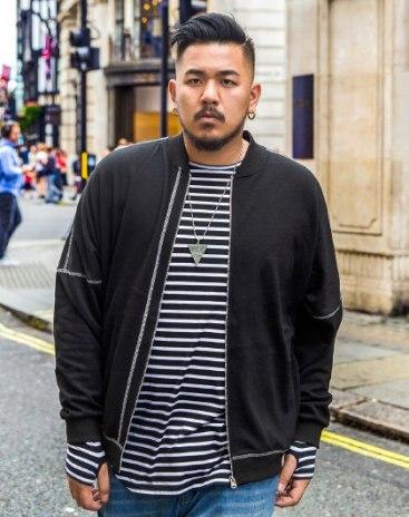 Black Stand Collar Long Sleeve Men's Hoodies & Sweatshirt