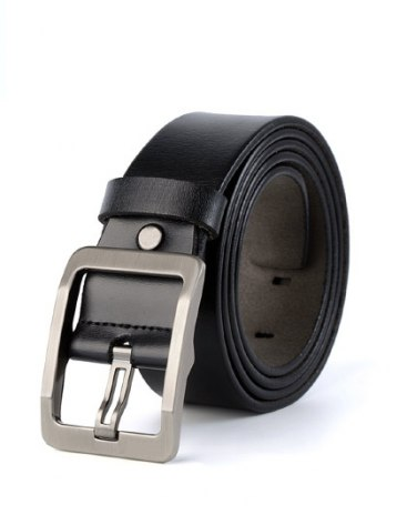 Black Patent Leather Two Plies Cowhide Men's  Belt